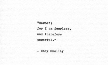 Mary Shelley Hand Typed Print 'I Am Fearless' Frankenstein Print Literary Gift Vintage Typewriter Quote Gothic Horror Feminist Mantra
