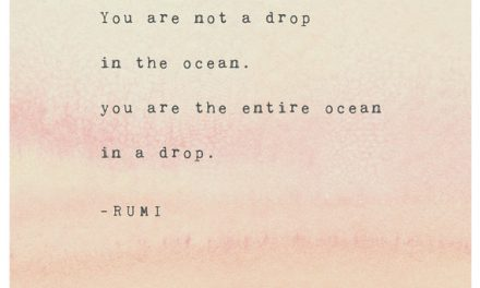 Rumi quote print, you are not a drop in the ocean, you are the entire ocean in a drop, Rumi poetry art, watercolor quote, gifts for her